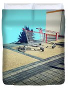 Shopping trolleys  Duvet Cover by Les Cunliffe