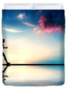Silhouette of man running at sunset Duvet Cover by Michal Bednarek
