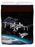 Space Station In Orbit Around Earth Duvet Cover by Leonello Calvetti