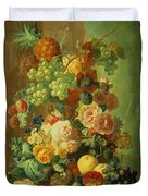 Still Life With Fruit And Flowers Duvet Cover by Jan van Os