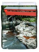 Taftsville Covered Bridge Vermont Duvet Cover by Edward Fielding