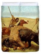 The Buffalo Hunt Duvet Cover by Frederic Remington