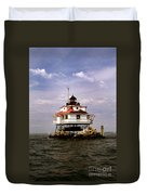 Thomas Point Shoal Lighthouse Duvet Cover by Skip Willits