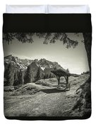 walking in the Alps - bw Duvet Cover by Hannes Cmarits