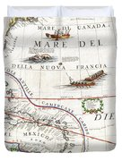 1688 Coronelli Globe Gore Map Of Ne North America The West Indies And Ne South America Geographicus Duvet Cover by MotionAge Designs