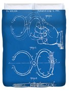 1891 Police Nippers Handcuffs Patent Artwork - Blueprint Duvet Cover by Nikki Marie Smith