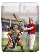1895 Batter Up At Home Plate Duvet Cover by Daniel Hagerman