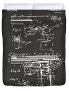 1911 Automatic Firearm Patent Artwork - Gray Duvet Cover by Nikki Marie Smith