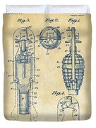 1921 Explosive Missle Patent Vintage Duvet Cover by Nikki Marie Smith