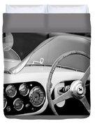 1953 Ferrari 340 Mm Lemans Spyder Steering Wheel Emblem Duvet Cover by Jill Reger