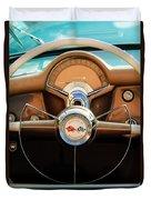 1954 Chevrolet Corvette Convertible  Steering Wheel Duvet Cover by Jill Reger