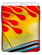 1954 Studebaker Champion Coupe Hot Rod Red With Flames - Grille Emblem Duvet Cover by Jill Reger