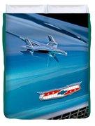 1955 Chevrolet Belair Hood Ornament 7 Duvet Cover by Jill Reger