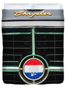1960 Chrysler 300F Convertible Grille Emblem Duvet Cover by Jill Reger