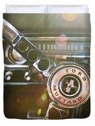 1965 Shelby prototype Ford Mustang Steering Wheel Emblem Duvet Cover by Jill Reger