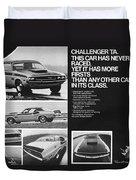 1970 Dodge Challenger T/a Duvet Cover by Digital Repro Depot