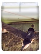 Barn Swallows Constructing Their Nest Duvet Cover by J McCombie