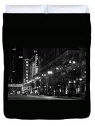 Chicago Theatre At Night Duvet Cover by Christine Till
