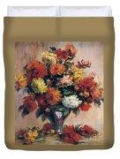 Dahlias Duvet Cover by Pierre-Auguste Renoir