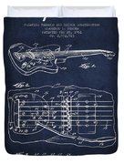 Fender Floating Tremolo Patent Drawing From 1961 - Navy Blue Duvet Cover by Aged Pixel