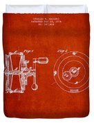 Fishing Reel Patent From 1874 Duvet Cover by Aged Pixel