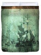 Grungy Historic Seaport Schooner Duvet Cover by John Stephens