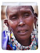 Maasai Woman Portrait In Tanzania Duvet Cover by Michal Bednarek