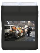 New York Street Vendor Duvet Cover by Frank Romeo