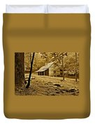 Smoky Mountain Cabin Duvet Cover by Frozen in Time Fine Art Photography