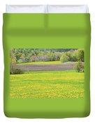 Spring Farm Landscape With Dandelion Bloom In Maine Duvet Cover by Keith Webber Jr