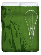 Thomas Edison Incandescent Lamp Patent Drawing From 1890 Duvet Cover by Aged Pixel