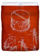 Vintage Snare Drum Patent Drawing From 1889 - Red Duvet Cover by Aged Pixel