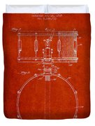 Snare Drum Patent Drawing From 1939 - Red Duvet Cover by Aged Pixel