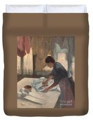 Woman Ironing Duvet Cover by Edgar Degas