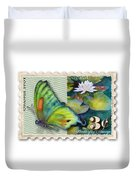 3 Cent Butterfly Stamp Duvet Cover by Amy Kirkpatrick