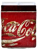 Coca Cola Sign Cracked Paint Duvet Cover by John Stephens