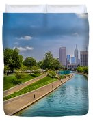 Indianapolis Skyline From The Canal Duvet Cover by Ron Pate
