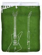 Mccarty Gibson Electrical Guitar Patent Drawing From 1958 - Green Duvet Cover by Aged Pixel