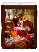 Restaurant Patio In France Duvet Cover by Elena Elisseeva