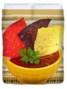 Tortilla Chips And Salsa Duvet Cover by Elena Elisseeva
