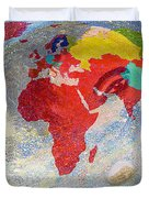 World Map And Barack Obama Stars Duvet Cover by Augusta Stylianou