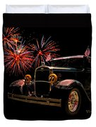31 Five Window Coupe On The Fourth Of July Duvet Cover by Chas Sinklier