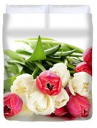 Red and white tulips Duvet Cover by Elena Elisseeva