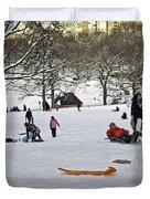 Snowboarding  in Central Park  2011 Duvet Cover by Madeline Ellis