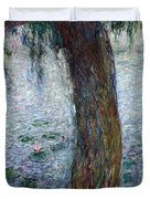 Waterlilies Morning with Weeping Willows Duvet Cover by Claude Monet