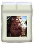 Maori Carving Duvet Cover by Les Cunliffe