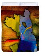 Oakland Map And Skyline Watercolor Duvet Cover by Marvin Blaine