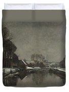 A Belgian Town In Winter Duvet Cover by Albert Baertsoen
