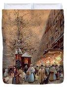 A Busy Boulevard near the Place de la Republique Paris Duvet Cover by Eugene Galien-Laloue