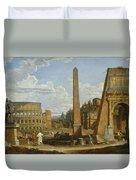 A Capriccio View Of Roman Ruins, 1737 Duvet Cover by Giovanni Paolo Pannini or Panini
